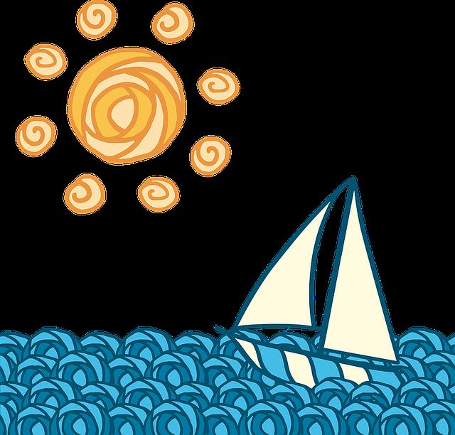 Sun, Boat, Wave, Journey, Blue, Yellow, Sailing, Sports