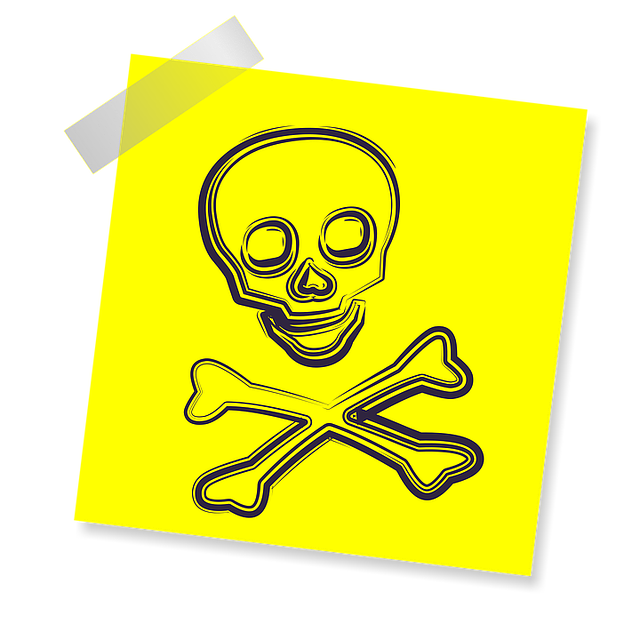 Scull, Sign, Icon, Reminder, Yellow Sticker, Post, Note