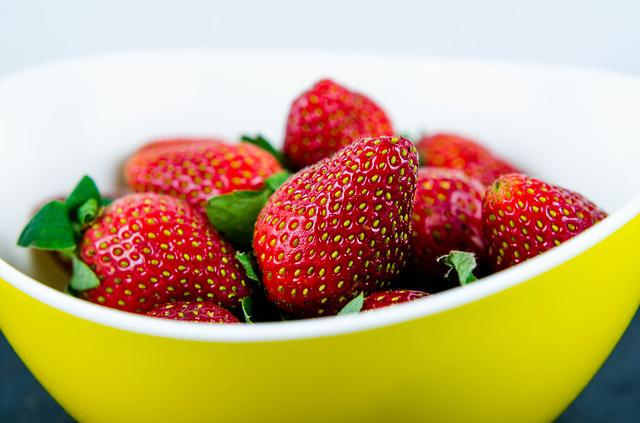 Strawberry, Fruit, Yellow, Bowl, Red, Ripe, Delicious