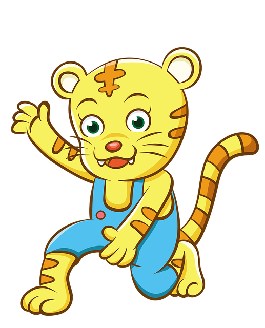 Cartoon, Hand-painted, Yellow Tiger
