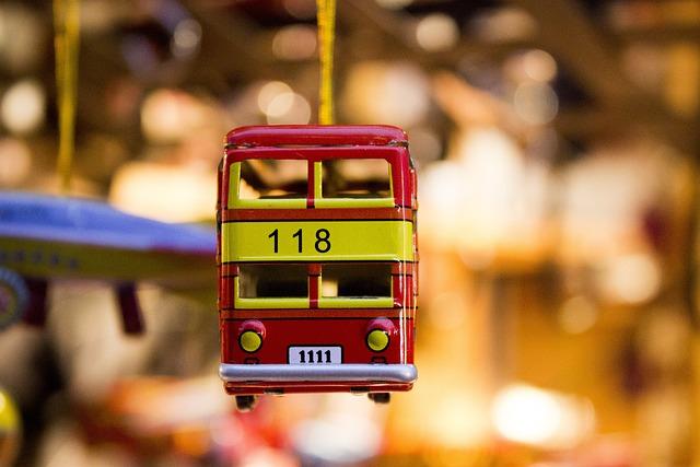 Toy Car, Bus, Toy, Red, Tin Car, Yellow, Metal