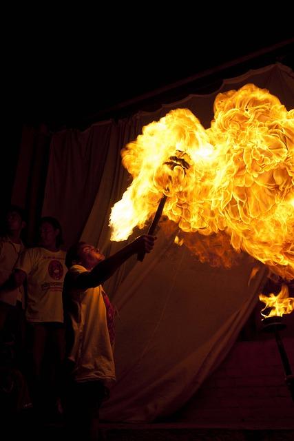 Fire-eater, Man, Fire, Brave, Smoke, Yellow, Torch