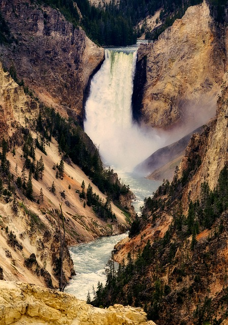 Waterfall, Yellowstone, National Park, Landscape
