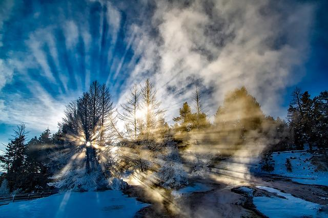 Sun Rays, Sun Beams, Yellowstone, National Park