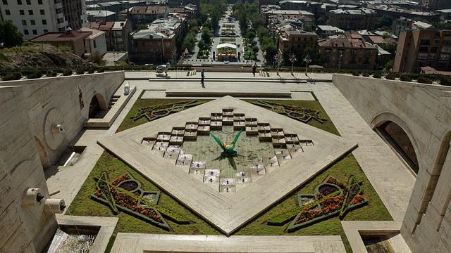 Fountain, Flower, Art, Sculpture, Yerevan, Cascade