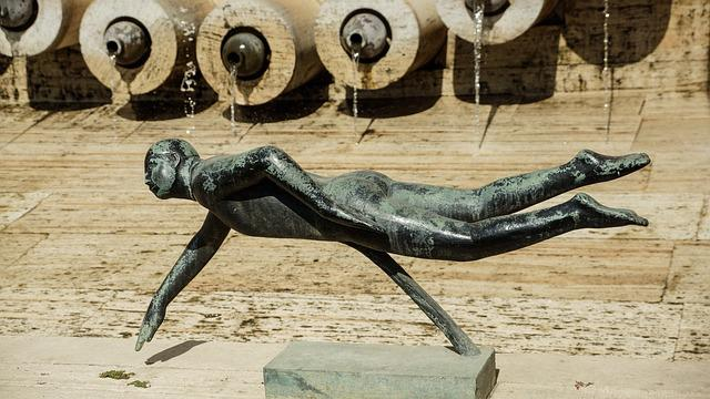 Swimmer, Art, Sculpture, Fountain, Metal, Yerevan