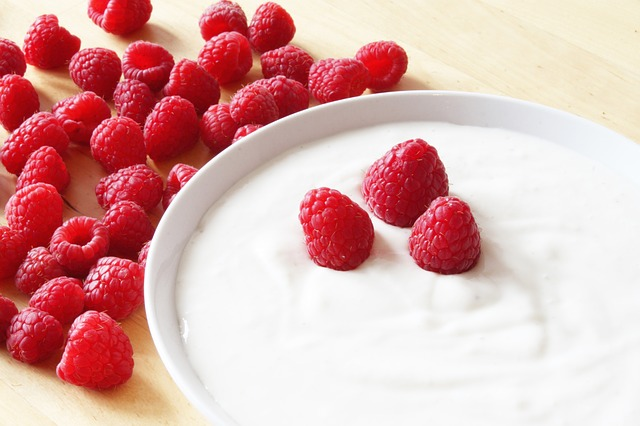 Raspberries, Yogurt, Nature, Frisch, Breakfast, Pink