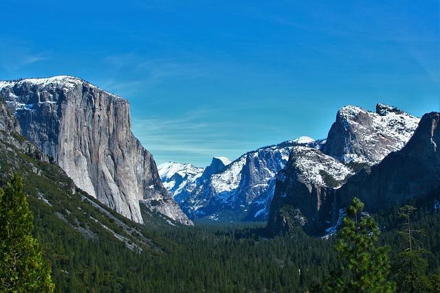 Yosemite, Snow, Thaw, Reflection, Blue Sky, Mountain