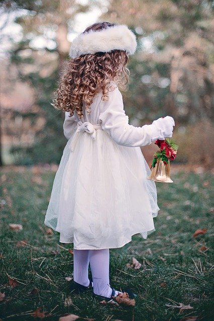 Girl, Child, Winter, Bell, Christmas, Curls, Young