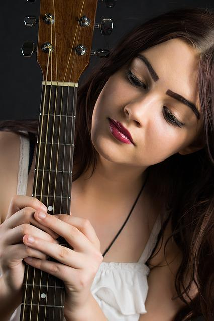 Woman, Beautiful, Young, Fashion, Pretty, Guitar, Music