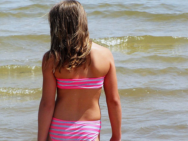 Girl, Beach, Water, Kids, Pink, Young, Female