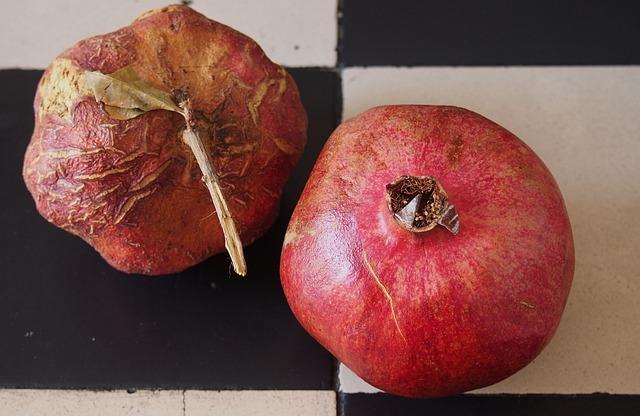 Pomegranate, Reverse Schrumpelt, Frisch, Young, Old