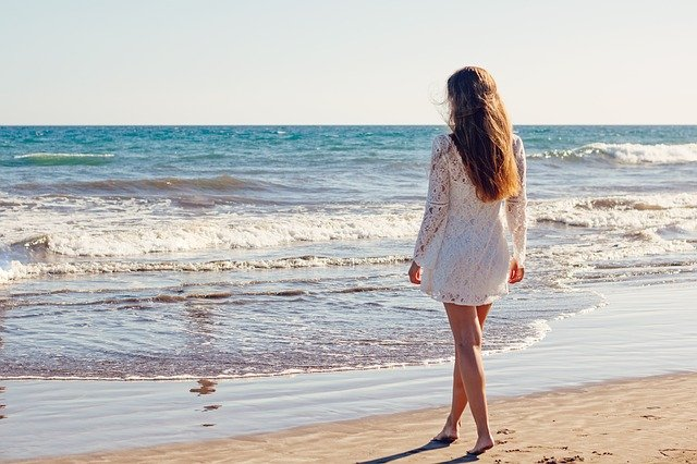 Young Woman, Woman, Sea, Ocean, White Dress, Beach