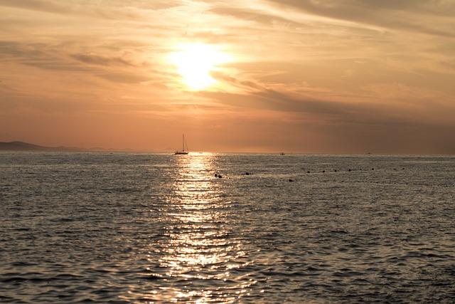 Sun, Sunset, Zadar, Light, Orange, Landscape, Water