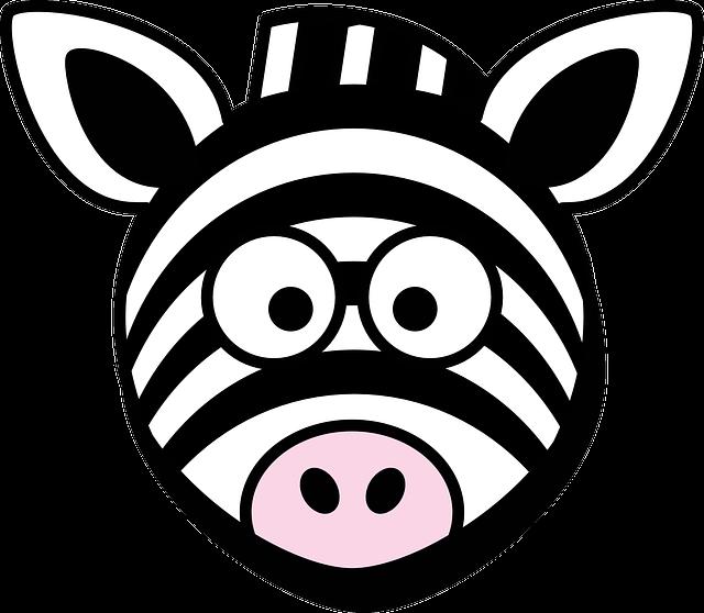 Zebra, Head, Stupid, Cartoon, Black, White, Round, Zoo
