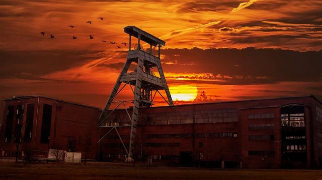 Herten, Zeche Ewald, Sunset, Dump Hoheward, Industry