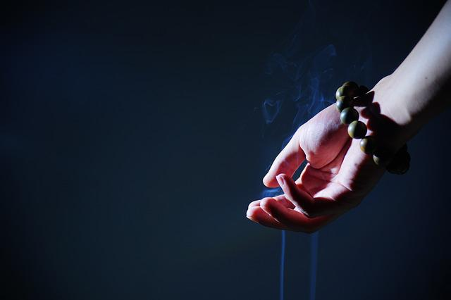Hand, Buddhist Prayer Beads, Smoke, Zen