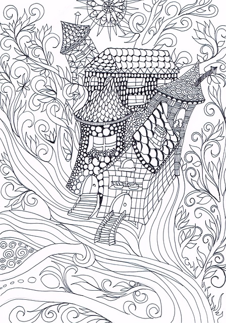 Zentangle, Treehouse, Drawing