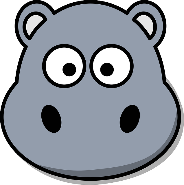 Hippo, Head, Cartoon, Cute, Grey, Zoo, Wildlife