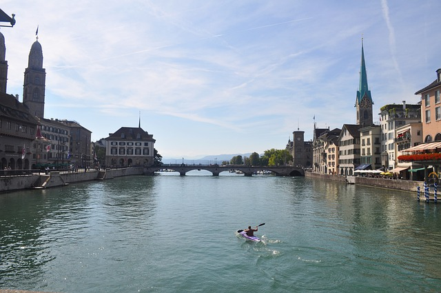 Zürich, River, Kayak, Water, Centre, Zurich
