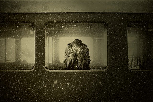 Woman, Train, Zugabteil, Farewell, Mourning, Despair