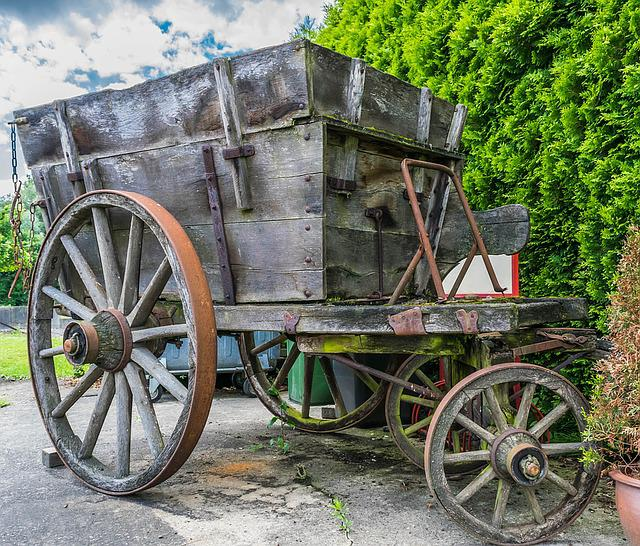 Cart, Handcart, Transport, Zugkarre, Wooden Wheel, Old