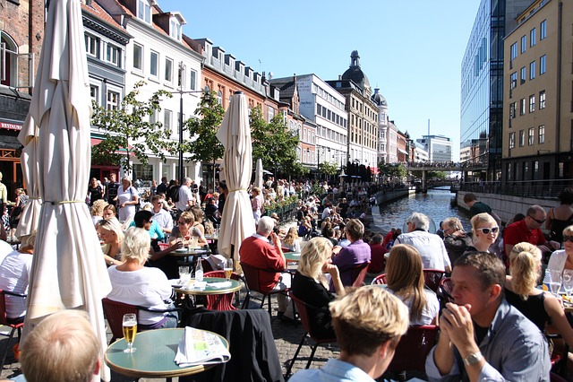 århus, City life, Creek, Cafe, Restaurant, River